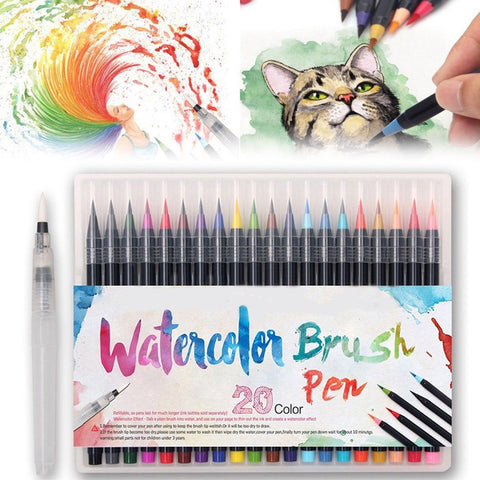 Watercolor Brush Markers Pen, 20 Colors Water Based Drawing Marker Water Color Ink Soft Flexible Tip