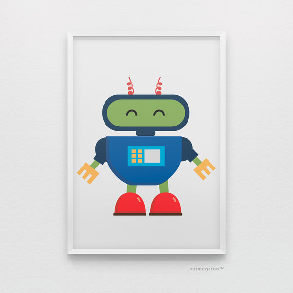 baby robot art print for boys bedroom
