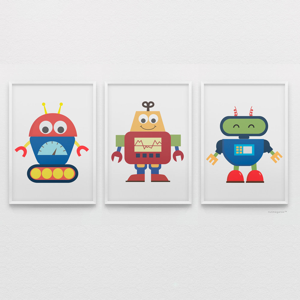 baby robots art print collection for boys bedroom