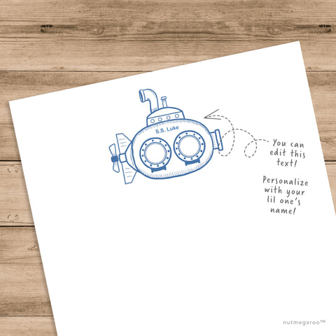 submarine stationery for kids, boys stationery - Printable