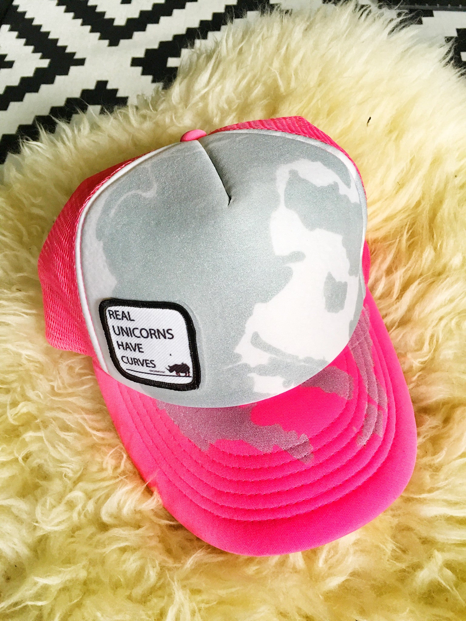 Real Unicorns Have Curves skier hat designed by Lynsey Dyer for Unicorn Picnic