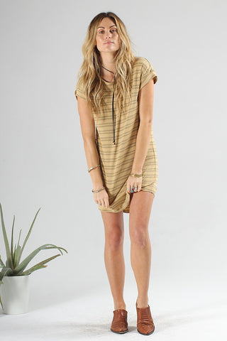 STONE DRESS - TAN STRIPE