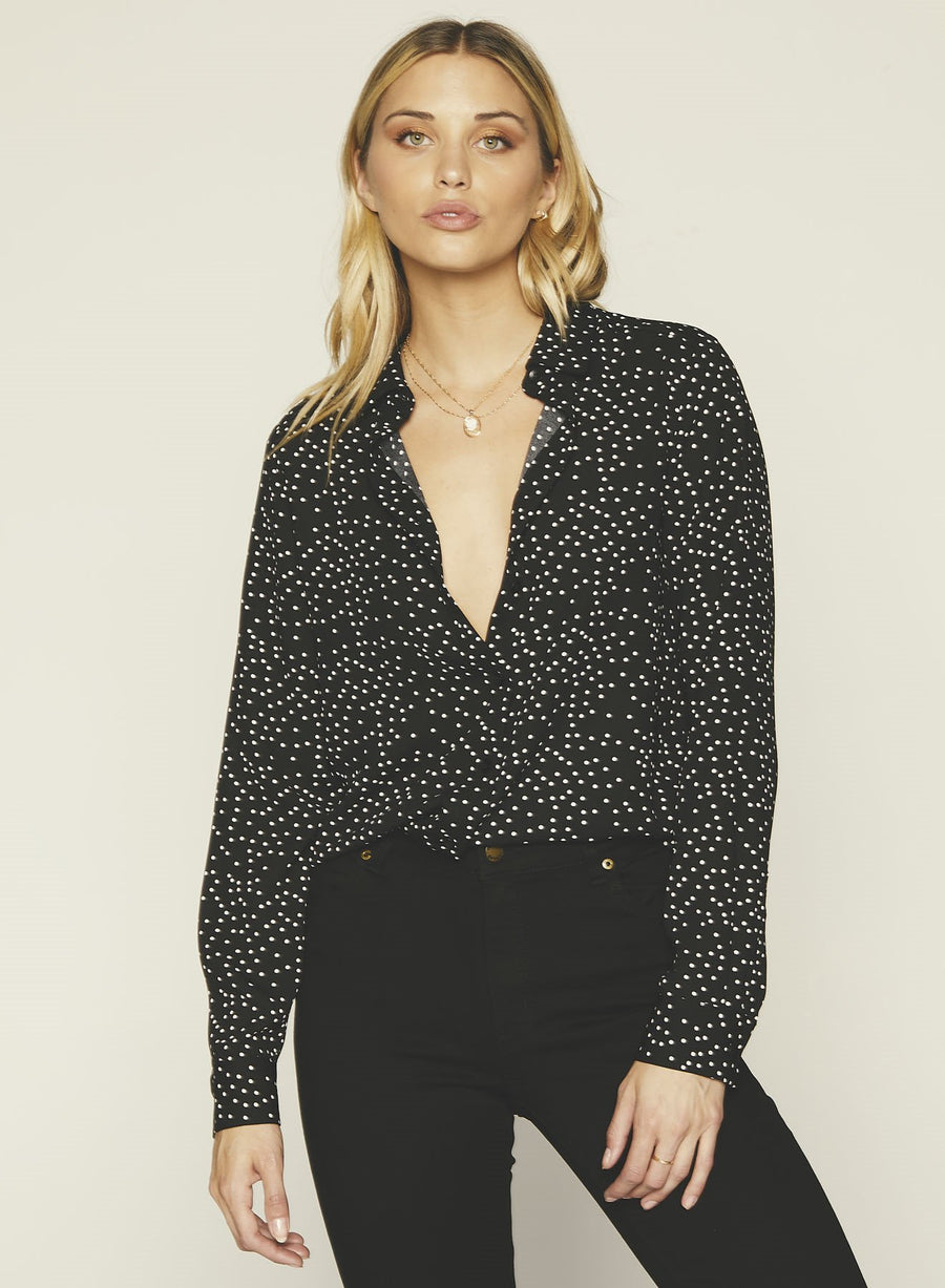 Terri Button Up-Black Dot
