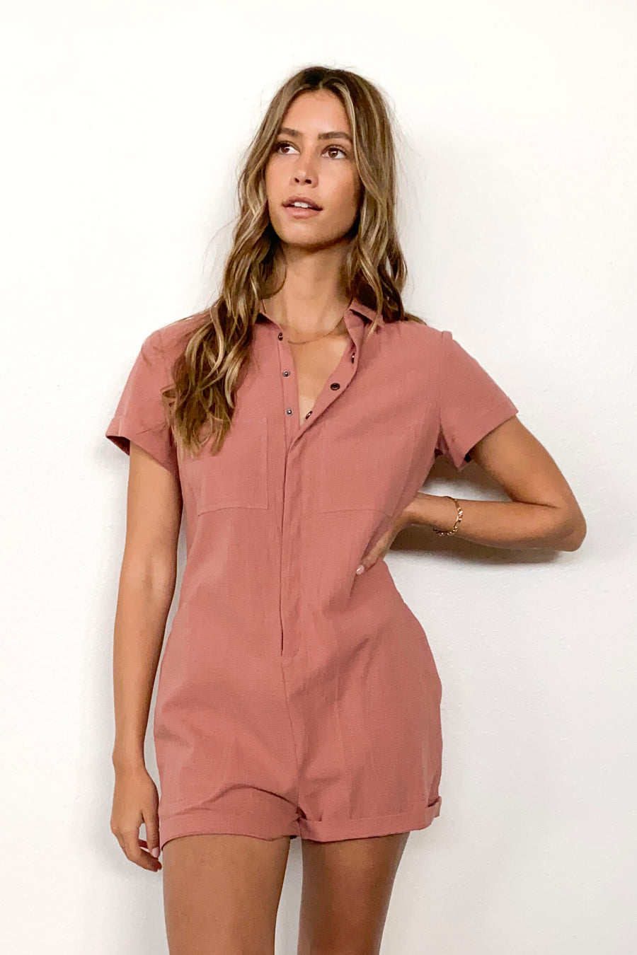 CHARLIE ROMPER-Dusty Rose