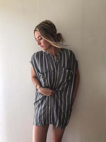 JONES DRESS - CHARCOAL STRIPE