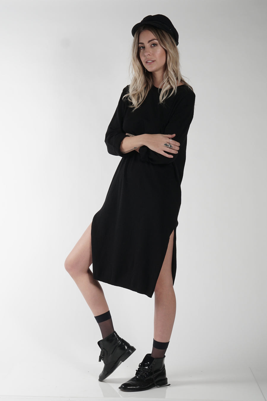 DARRIEN SWEATER DRESS - BLACK - Knot Sisters