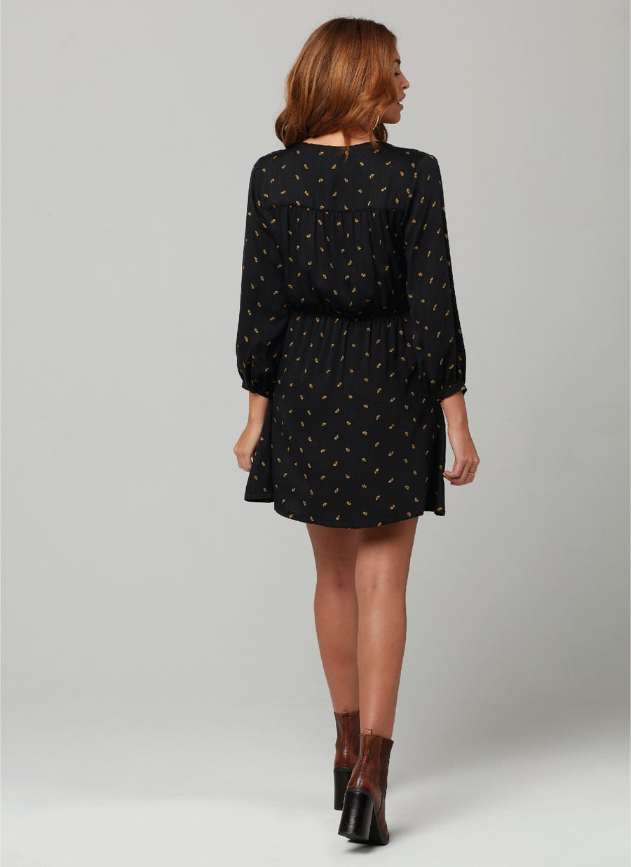 LEAH DRESS-Ginko Leaf Print