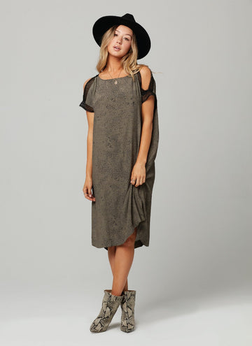 BETH DRESS-Olive Black