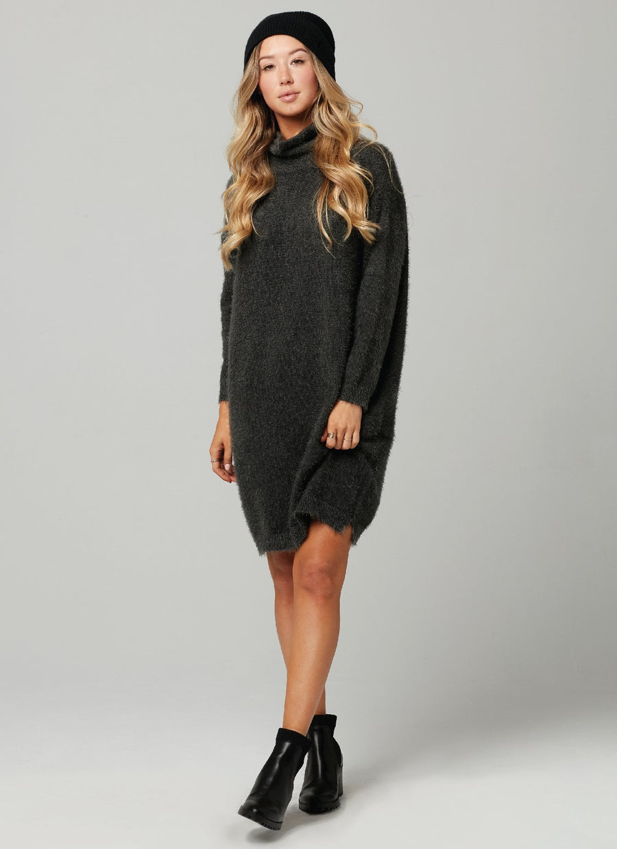 LUCKY SWEATER DRESS-Charcoal