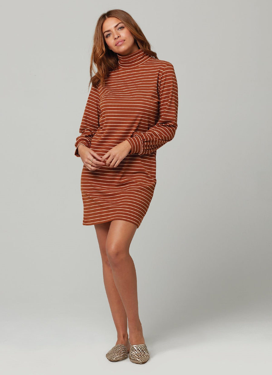 CLARE DRESS-TOBACCO