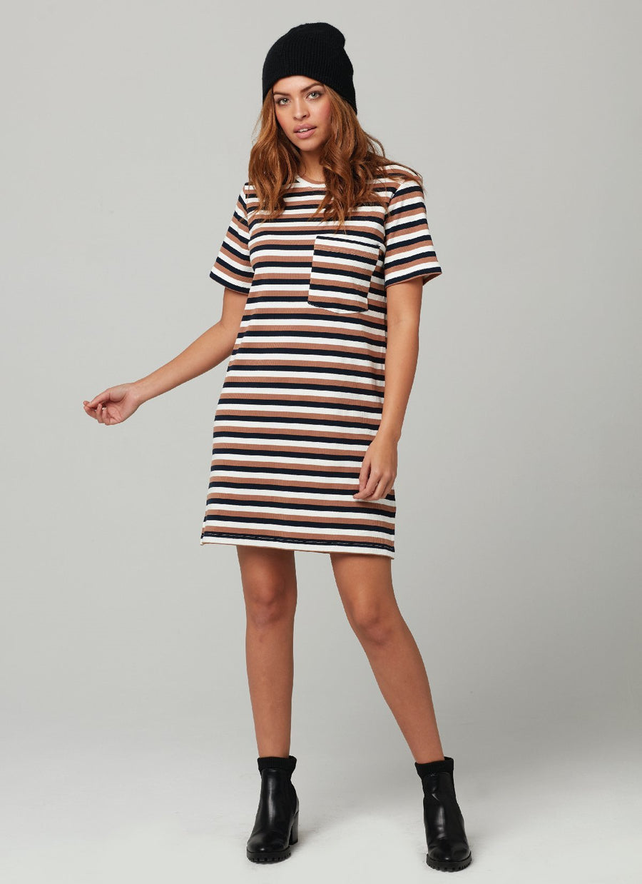 ROLLO DRESS-Rose Blk Stripe