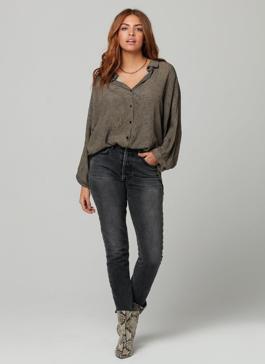 COURTNEY TOP-Olive Blk Moon Dust