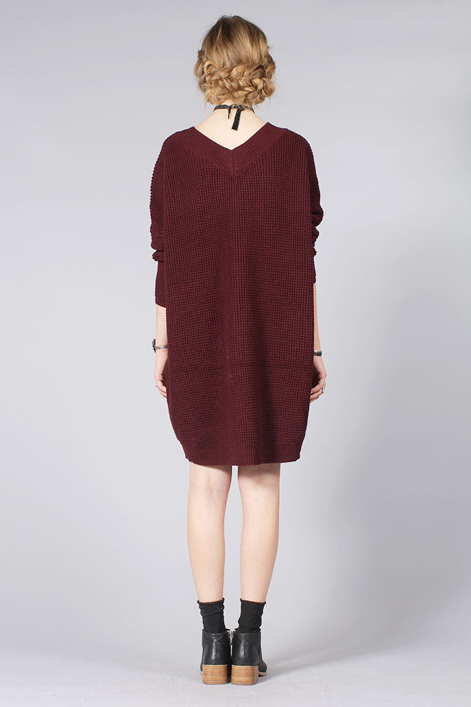 SALT SWEATER DRESS - DARK WINE