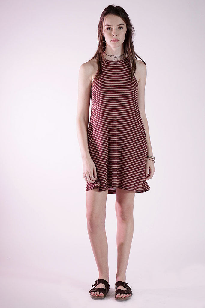 MESA DRESS - MAHAGONY STRIPE