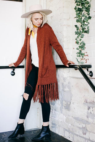 MERRILL SWEATER CARDIGAN - MADDER BROWN