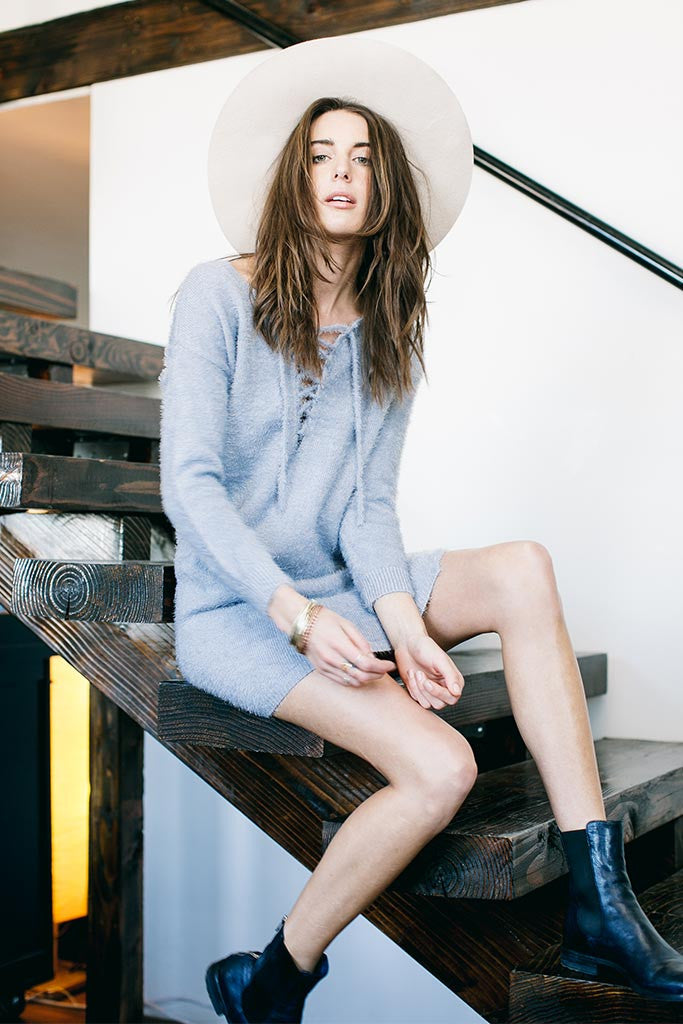 SHORE SWEATER DRESS - LIGHT GRAY