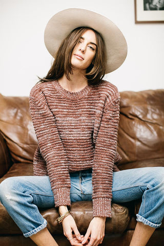 REESE SWEATER - DARK ROSE