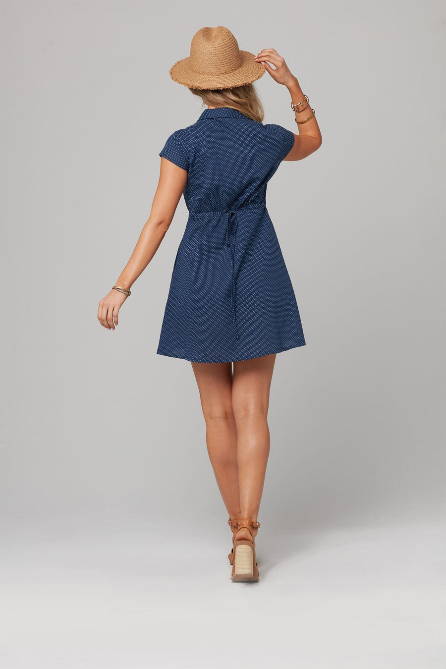 ELLEN DRESS-Navy Dot