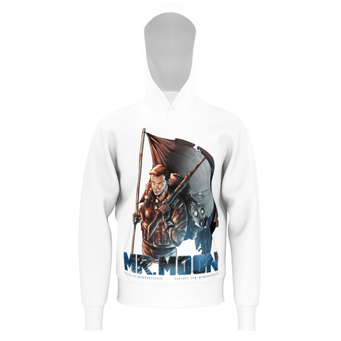 Mr. Moon - Flag White Hoodie (With Mr. Moon logo on the hood)