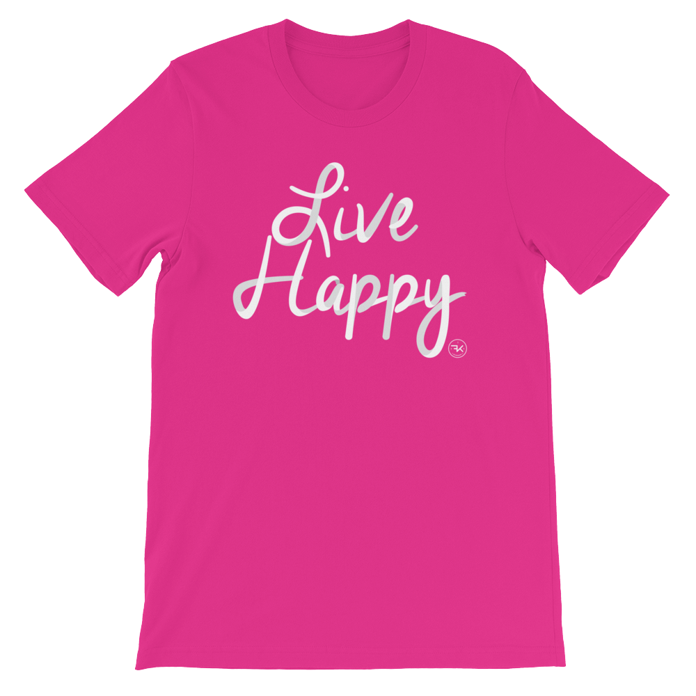 Flippin' Katie Live Happy Hot Pink Adult T-Shirt (Unisex)