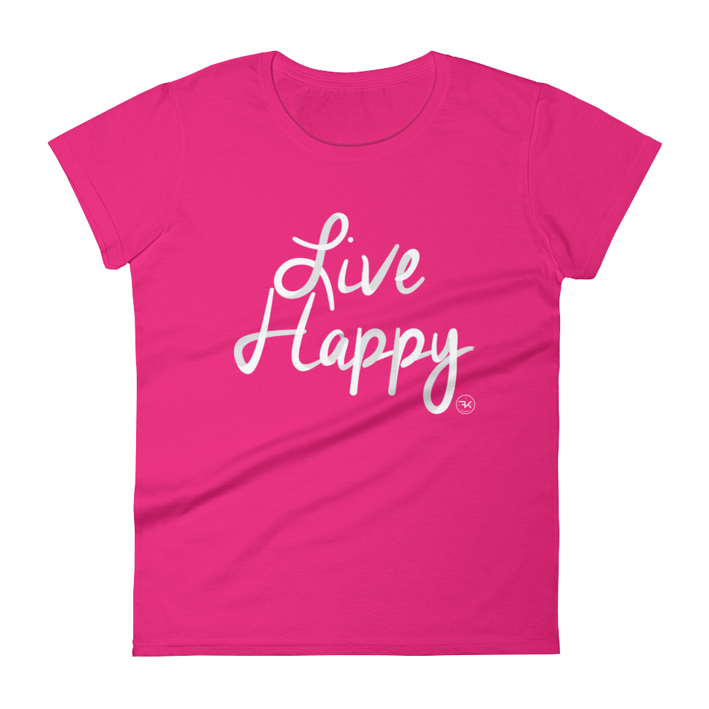 Flippin' Katie Live Happy Pink Women's T-Shirt