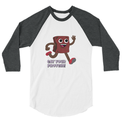 TRY Channel Eat Your Protein! 3/4 sleeve raglan shirt