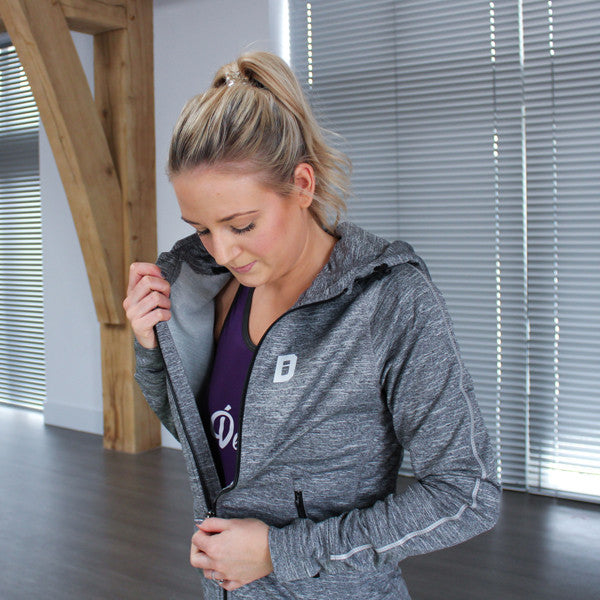 Razor Running Zip Hoodie - Womens Grey