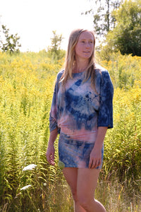 Mini Dress-Plant Dyed-Indigo/Cochineal-Large