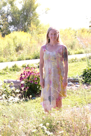 Sunset Hemp Dress-Cochineal/Eco-Printed-Small