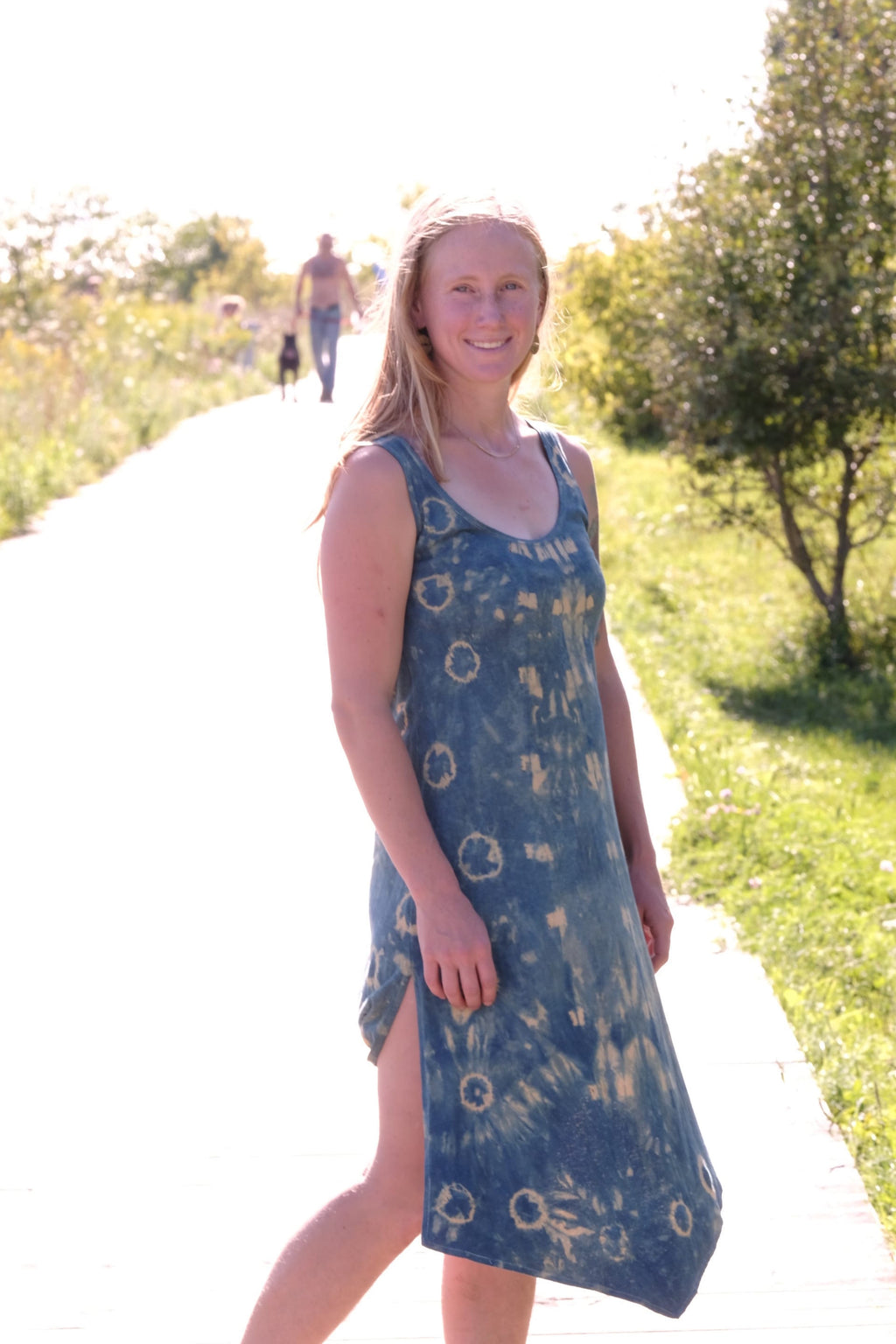 Sunset Hemp Dress-Goldenrod/Indigo Shibori-Small