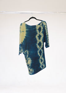 Mini Dress-Plant Dyed-Goldenrod/Indigo-Medium