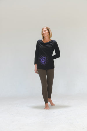 Scoop Neck 3/4sleeve-Hemp-Yantra Print
