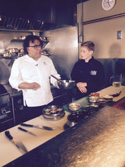 Skylar cooking with Chef Vikram Vij