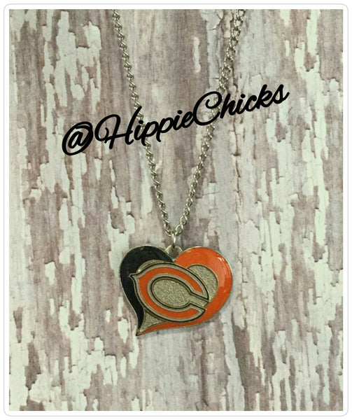 NFL Chicago Bears Heart Necklace