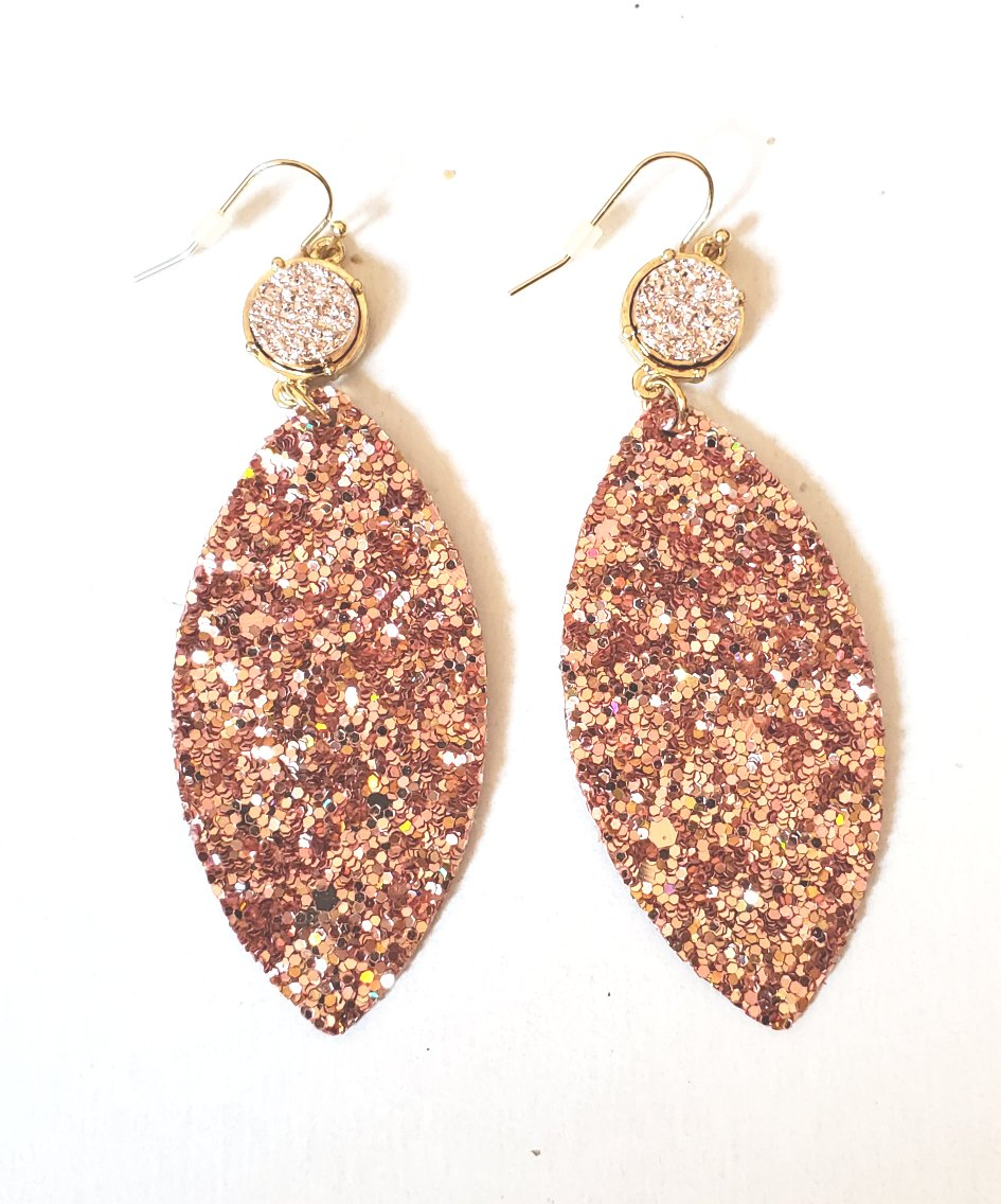 Rose Gold Druzy Treardrop