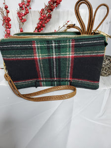 Riley Black/Green Plaid 3 Compartment Crossbody/Wristlet