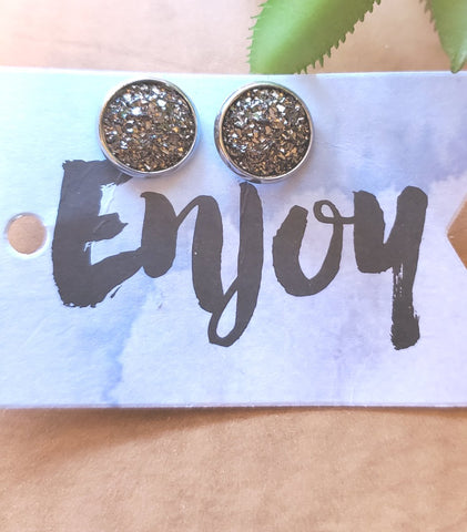 Druzy Studs - Midnight