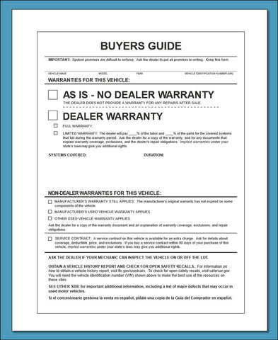 FTC Buyers Guide - AS IS
