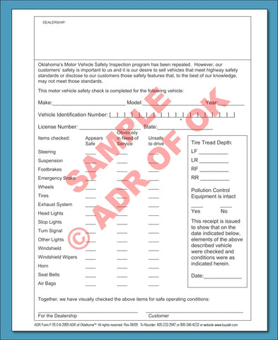 Safety Inspection List  Dealer Forms  Adr Of Okla  Adr Of Oklahoma