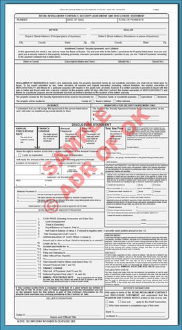 Retail Installment Sales Contract and Security Agreement