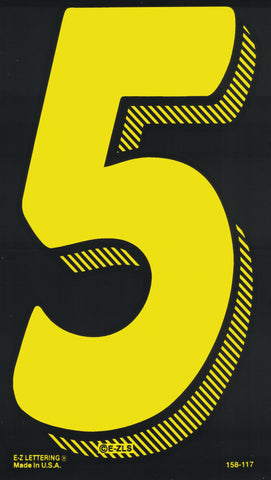 "Vinyl Numbers (7.5"") - Yellow on Black"