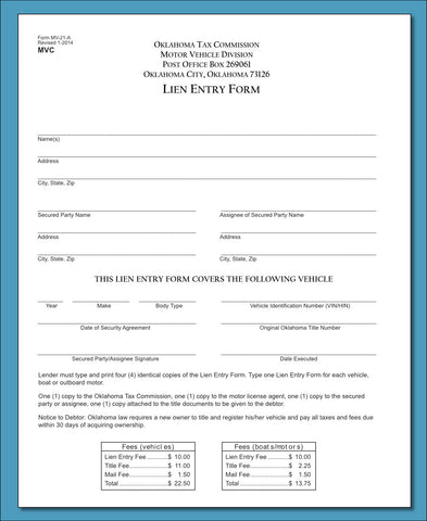 Lien Entry Form