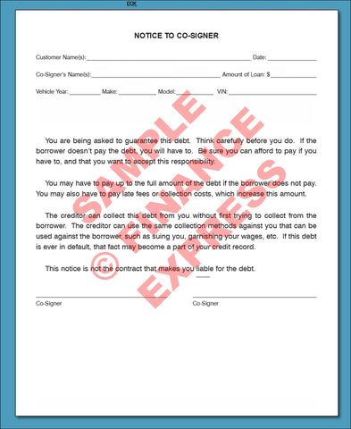Notice to Co-Signer