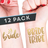 BRIDE + BRIDE TRIBE Temporary Tattoos (Set of 12 Gold Bachelorette Temporary Tattoos)