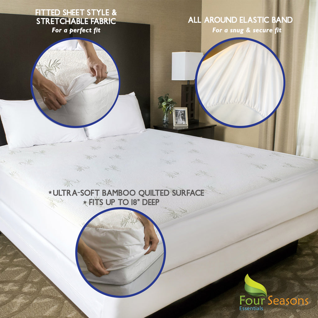 Bamboo Mattress Protector - Waterproof Fitted Sheet Mattress Cover