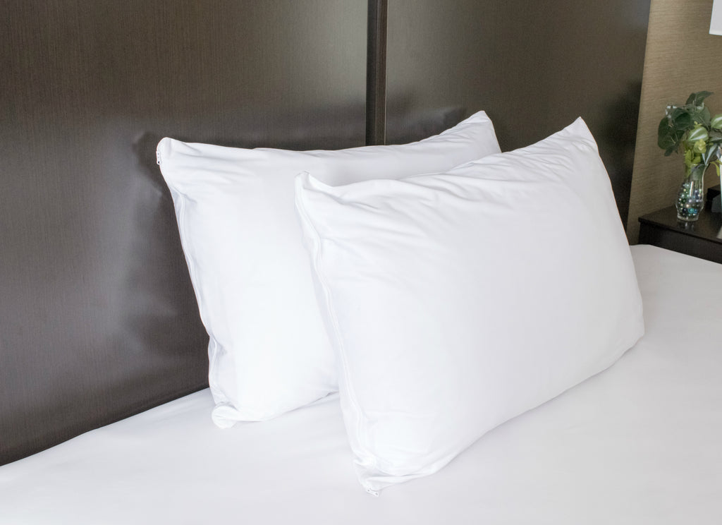 Waterproof Pillow Protectors (Set of 2) - Zippered Allergen and Dust Mite Proof Pillow Covers