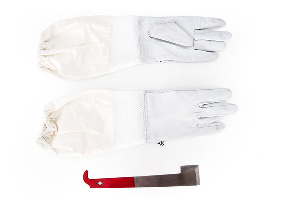 Bee Keeping Suit Gloves and 'J' Hive Tool