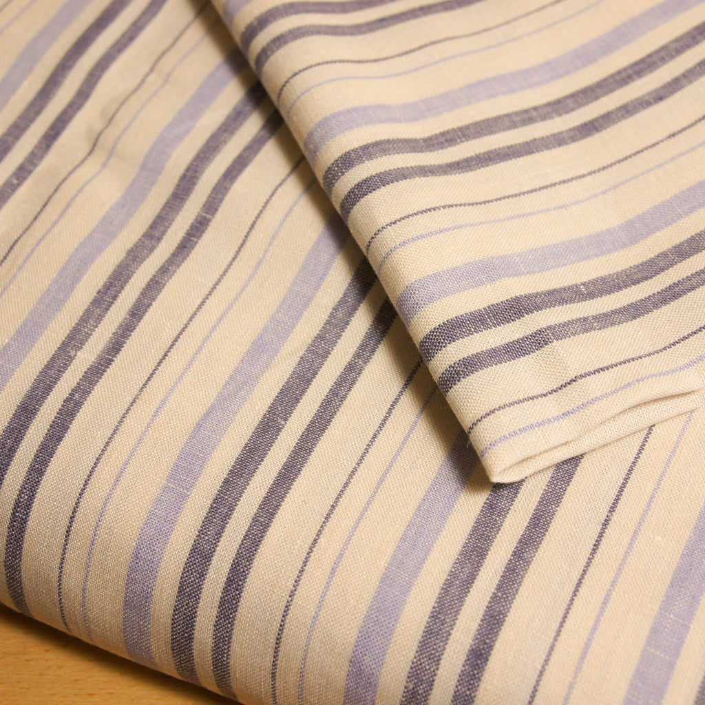 Linen Thick Thin Stripes -  3 colours - woven - Earth Indigo