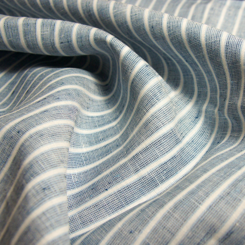 Linen Yarn Dyed Chambray Stripes -  Blue - [product_typpe] - Earth Indigo