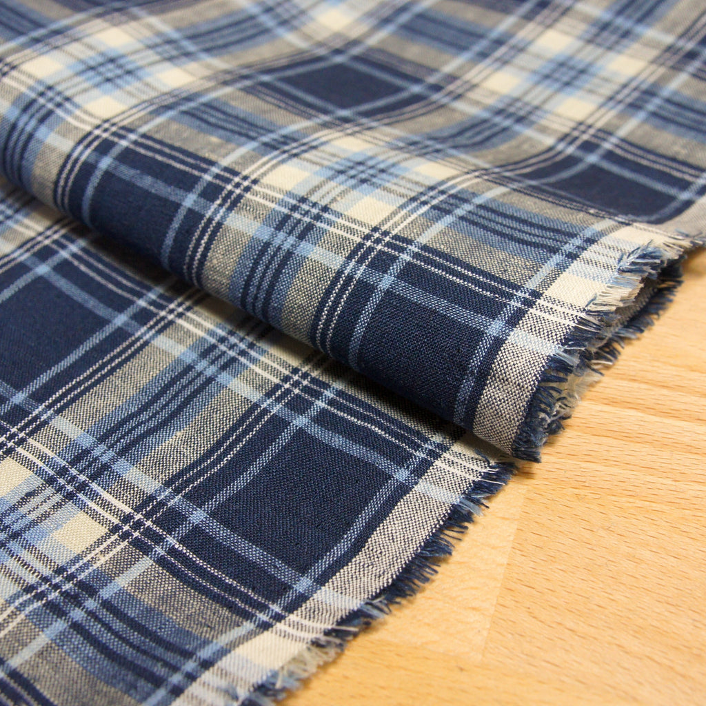 Linen Yarn Dyed Plaid - Dark and Light Blue - [product_typpe] - Earth Indigo